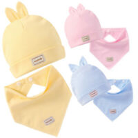 2019 Baby Hats Saliva Towel Sets Newborn Cotton Warm Caps Triangle Towel Unisex~
