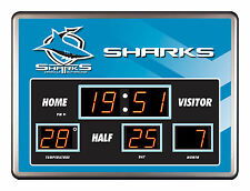 CRONULLA SHARKS NRL SCOREBOARD LED Glass Wall Clock Date Time Temp Man Cave Bar