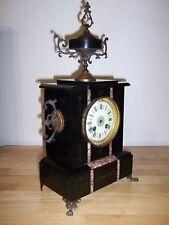 antiqe 1900 french mantel marble clock candelstick Napoleon III Chimney Pendulum