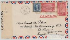 25 cent 1/4oz airmail rate to ** COLOMBIA ** 1941 Canada cover