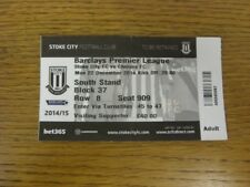 22/12/2014 Ticket: Stoke City v Chelsea  (folded). Bobfrankandelvis (aka Footy P