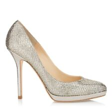 Jimmy Choo 'Ailsa' Glitter Champagne Silver Stiletto Pumps Heels Size Eu 35 Uk 2