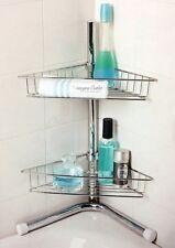 CHROME NO RUST BATHROOM CORNER SHELF STORAGE 2TIER SHOWER CADDY ORGANISER