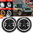 7inch Angel Eyes Led Projector Headlights For Jeep Wrangler Patriot Compass