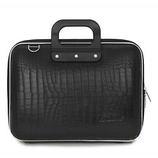 "Bombata - Black Medio Cocco 13"" Laptop Case/Bag with Shoulder Strap"
