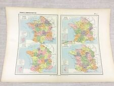 1888 Antique Map of France Political Administrative Judicial Military FRENCH
