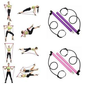Yoga Pilates Bar Stick Exercise Fitness Resistance Gym Sport Indoor Portable TPE