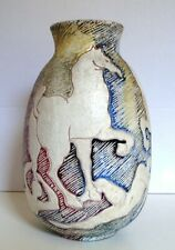 Scarce, Mint Mid Century Modern Early Fantoni Pottery Sgraffito Vase