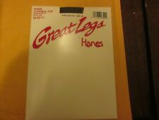Hanes Sheer Control Top Barely Black Sandalfoot Pantyhose C/D See Pic For Sizing