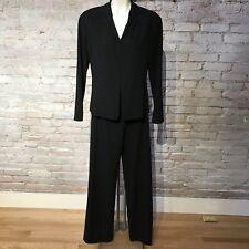 NARCISO RODRIGUEZ Black Wool Pant Suit Wide Leg Crop Jacket Flat front 42 8