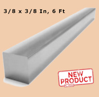 "Square Stock 3/8"" x 3/8"" x 72"" Aluminum Alloy Solid 6 Ft Long Unpolished Bar NEW"