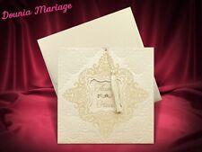 Faire part Mariage Ecru/OR avec enveloppe X20