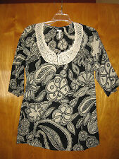 Joie xs black ivory 3/4 sleeve cotton crochet lace tunic top shirt cover-up