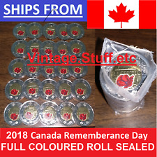 25x 2018 Canada $2 Armistice FULL ROLL Coloured Colored Remembrance Poppy RARE