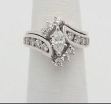 2.77 Ct Marquise Diamond Bridal Engagement Wedding Ring Sets 14K White Gold Over
