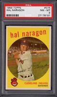 1959 Hal Naragon Topps Baseball Card #376 Graded PSA 8 NM-MT (Near Mint-Mint)