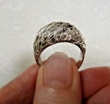 Artisan Sterling Silver Ring Textured Raised Wide Band Front Sz 7.25 Signed