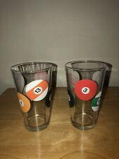 2-POOL BALL BILLIARD Glasses Pints Drinking  Barware Man Cave 16 oz Vintage