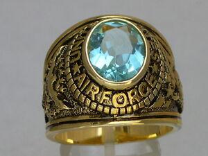 United States Air Force Military March Aqua Marine Birthstone Men Ring Size 7