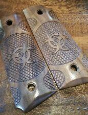 Compact 1911 Walnut Wood Grips - Zombie Biohazard Symbol