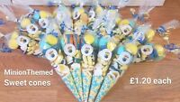 LARGE MINION THEMED PRE FILLED SWEET CONES KIDS BIRTHDAY PARTY BAGS