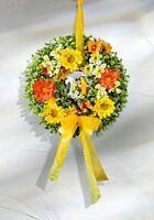 wunderschöner Gerbera Narzissen mit Papagei Türkranz Wandkranz  26 cm Kunstblume