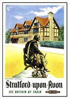 Stratford auf Avon 2 Shakespeare Birth Railway Vintage alt Bild Poster A4