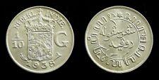 Netherlands Indies - 1/10 Gulden 1938 vrijwel UNC ~ Scho. 852