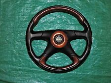 Verona Victoria Wood Four Spoke Six Bolt JDM Leather Steering Wheel Black