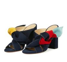 $830 CHLOE Nellie Navy Blue Red Yellow Knot Suede Mules Sandals 41
