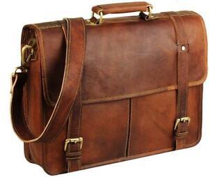 Distressed Vintage Real Leather Messenger Laptop Satchel Shoulder Cross-body Bag