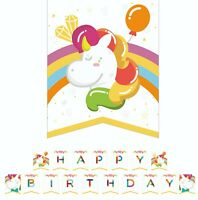 Unicorn Happy Birthday Party Bunting Banner Magical Party Decor Rainbow