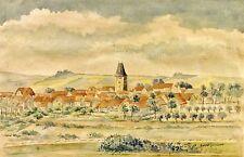Konrad tschochner (XX) Aquarelle de 1950: großwelsbach, petit endroit en Thuringe