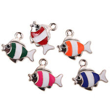 ON SALE10x Lovely Mixed Color Enamel Alloy UV Gold Plated Fish Charms Pendants