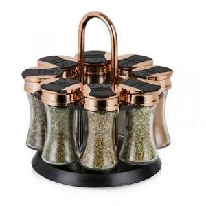 Tower Rose Gold 8 Jars Rotating Revolving Glass Spice Jars Rack Storage Stand
