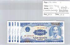 5 BILLETS VIETNAM - 5000 DONG 1991 - BILLETS CONSÉCUTIFS - NEUFS !!! *