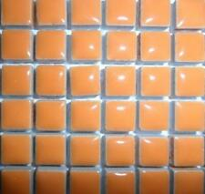 81 Mini Glazed Ceramic Mosaic Tiles 10mm - Popsicle Orange