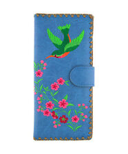 LAVISHY HUMMINGBIRD EMBROIDER LARGE WALLET VEGAN FAUX LEATHER NEW (97-191Blue)