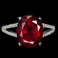 Oval Red Ruby 12x10mm White Cz 14K White Gold Plate 925 Sterling Silver Ring
