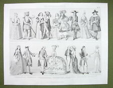 COSTUME in Europe 17-19th C Dutch French King Louis IV - 1870s Engraving Print