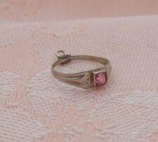 Vintage 10K WHITE GOLD BABY RING ~ PINK RHINESTONE Charm