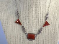7.9g Antique Art Deco Carnelian & Marcasite 10k White Gold Necklace