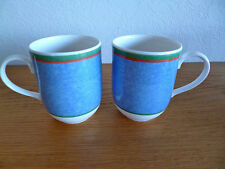 """Villeroy & Boch Tipo Viva 2 Coffee Mugs  Blue Dimpled w/Red & Grn Bands 3 3/4"""""""