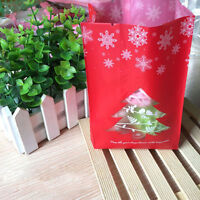 50pcs Christmas Tree Pattern Plastic Cookie Candy Bags Party Favor Gift Package