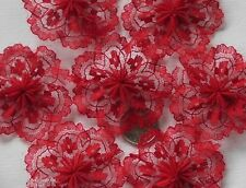 20pc - Lovely Red Lace Rosettes (4cm)-  Bows Appliques/Craft/Wedding Decoration