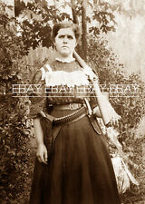 """COWGIRL OF THE OLD WEST """"PISTOL PACKIN MAMA"""" WIFE MOTHER KNIFE 30-30 RIFLE PHOTO"""