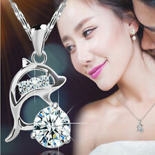 Jumping Dolphin Silver Plated Rhinestone Creative Pendant Necklace Love Jewelry