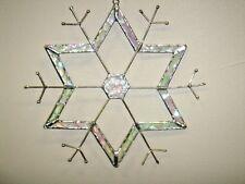 J Devlin Glass Art Stained Snowflake Hex-Center Ornament/Suncatcher *NEW IN BOX