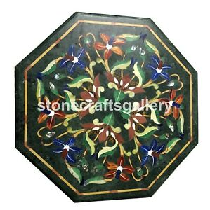 """12"""" Green Marble Small Coffee Table Top Lapis Floral Inlay Bedroom Decorate B077"""
