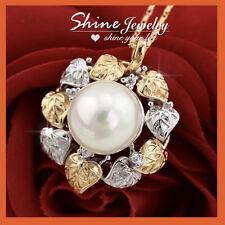 18K GOLD GF FILIGREE FLORAL RING PEARL CRYSTAL SOLID STATEMENT PENDANT NECKLACE